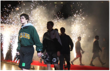 he parade of wrestlers make their way to the championship mats through some pyrotechnics during the opening ceremony March 1, 2014 during the 77th annual state wrestling individual tournament at Ohio State University's Jerome Schottenstein Center in Columbus. (John Kuntz, The Plain Dealer)