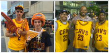 Pictured from left, Marko Filipovic and Tyler Formica pose before the Cavs' Game 4 at the Q. In the right photo, Alyn Waller, Cliff Phoenix, Miche Waller sport their LeBron James jerseys. (Nathaniel Cline, Northeast Ohio Media Group)