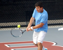 Pictured Willoughby South senior Vince Anzalone takes a strike at the ball during the Division I state semifinals on Saturday at Ohio State University's Varsity Tennis Courts. Anzalone finished fourth in the state. (Nathaniel Cline, Northeast Ohio Media Group)