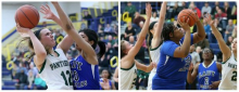 In the left photo, Elyria Catholic's Riley Schill drives to the basket into the defense of Richmond Heights' Izmalia Sougafara during the District playoffs last year. In the right photo, Richmond Heights' Deja Winters (top) fouls Schill on her shot attempt (John Kuntz, Northeast Ohio Media Group)