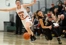 Hathaway Brown's Jordan Elhindi goes after a ball she stole from Chagrin Falls' Kate Weston in the first half of the girls division II district final in 2015. (Joshua Gunter, cleveland.com)