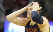 Cleveland Cavaliers center Timofey Mozgov is upset at a foul that was called on him in the first half against the Golden State Warriors. John Kuntz, cleveland.com