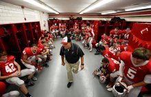Fairview head football coach Tom Narducci has a tip for curbing bad behavior in the locker room following Republican presidential nominee Donald Trump's remarks about what is considered locker room talk. Pictured is Narducci in 2014 speaking with his players. (Lonnie Timmons III, The Plain Dealer)